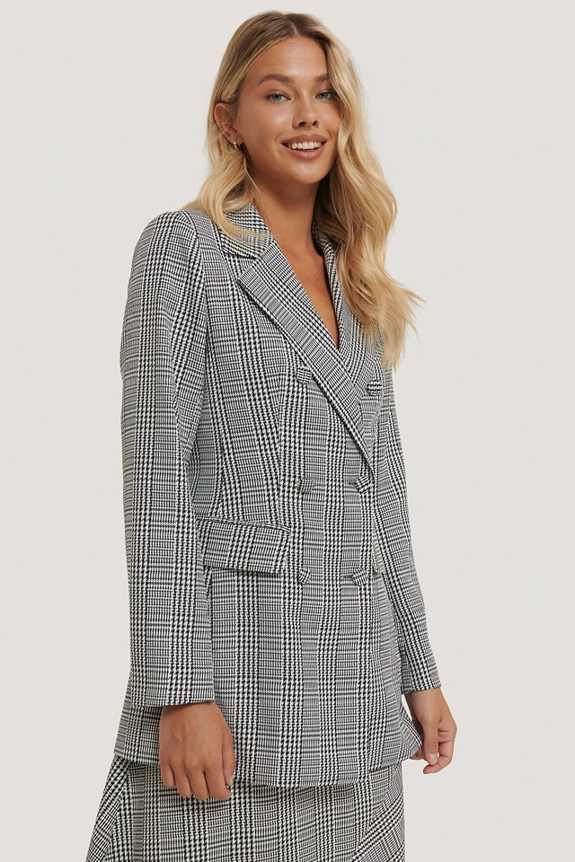 Double Breasted Houndtooth Blazer Black/White