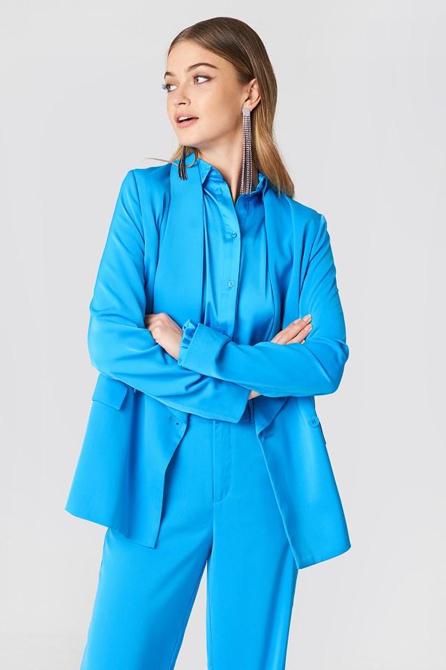 Double Breasted Shiny Blazer Ocean Blue