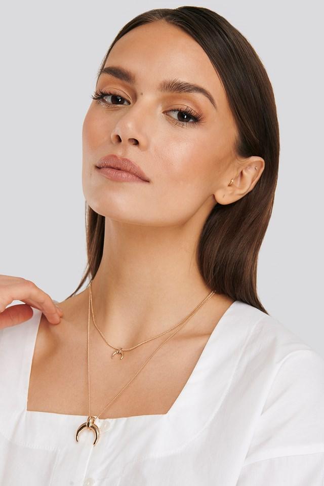 Double Crescent Pendant Necklace Gold