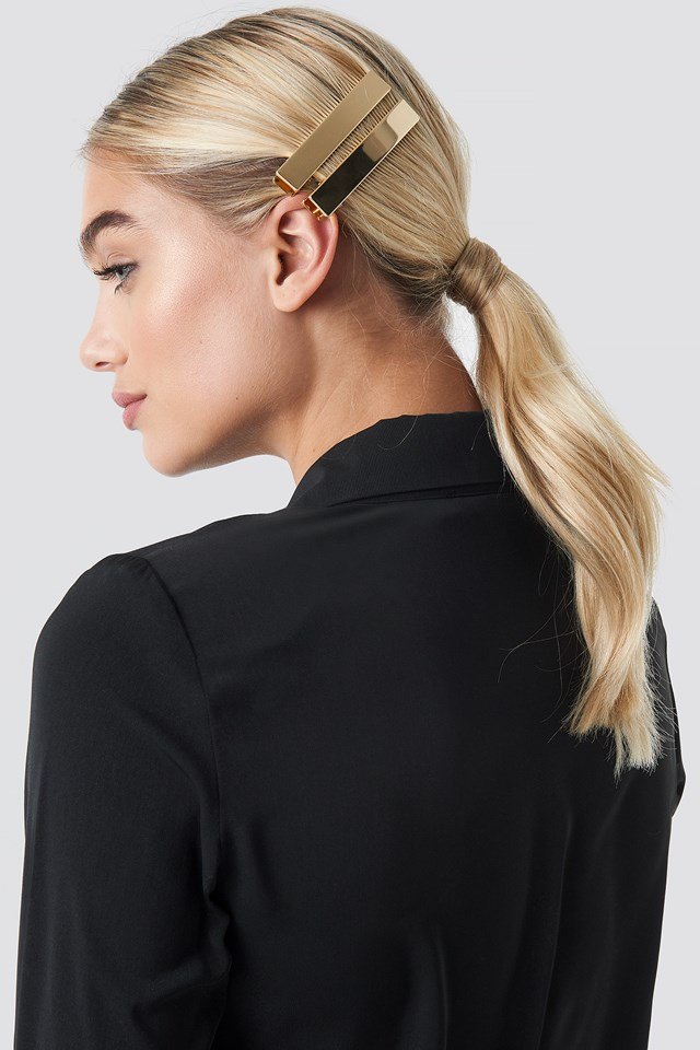 Double Pack Squared Hairclip Gold