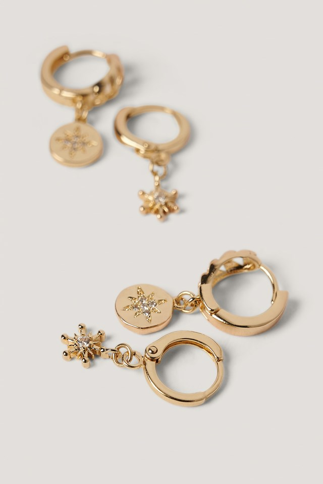 Gold Double Pack Star Pendant Hoops