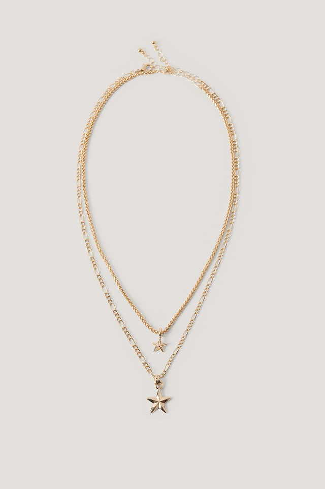 Double Star Pendant Necklace Gold