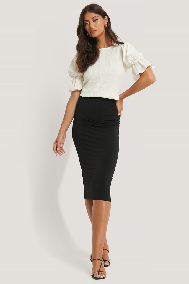 Draped Mid Skirt Black