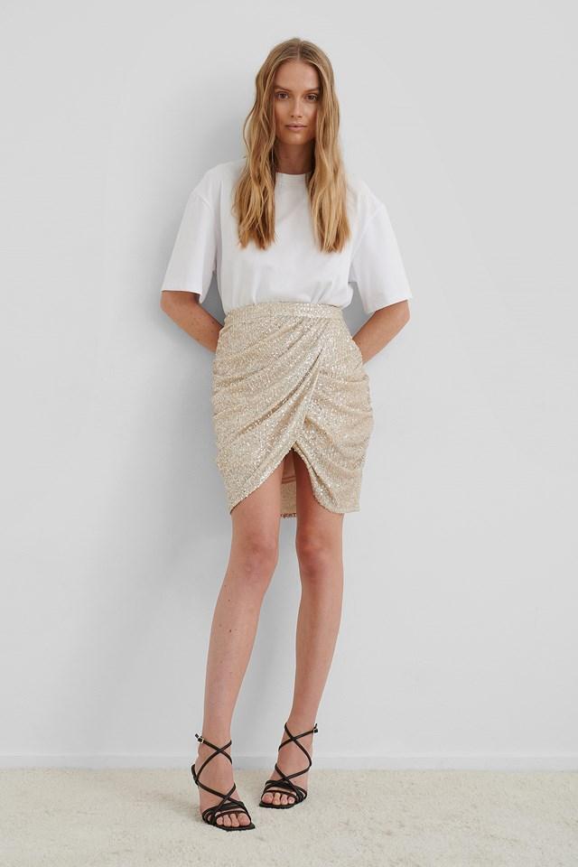 Beige Draped Sequin Skirt