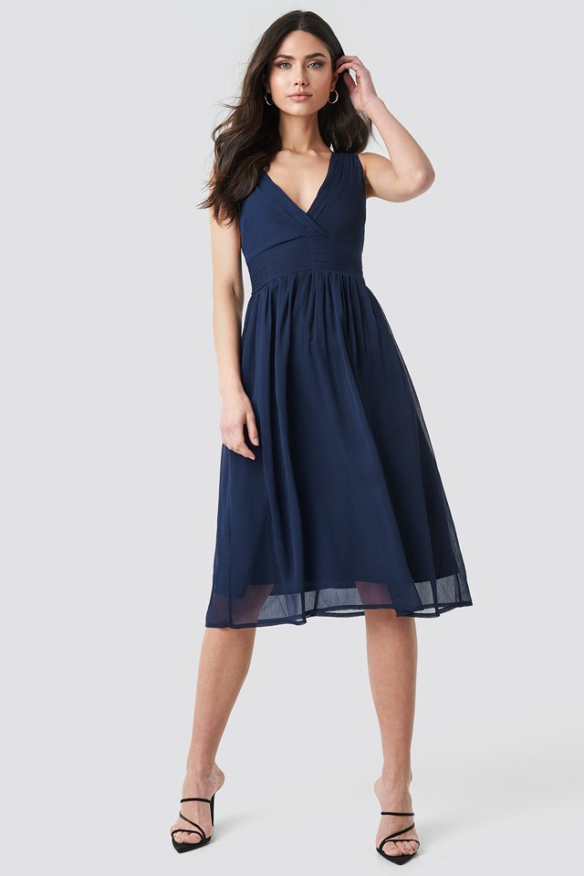 Draped Waist V-Neck Chiffon Dress Dark Blue