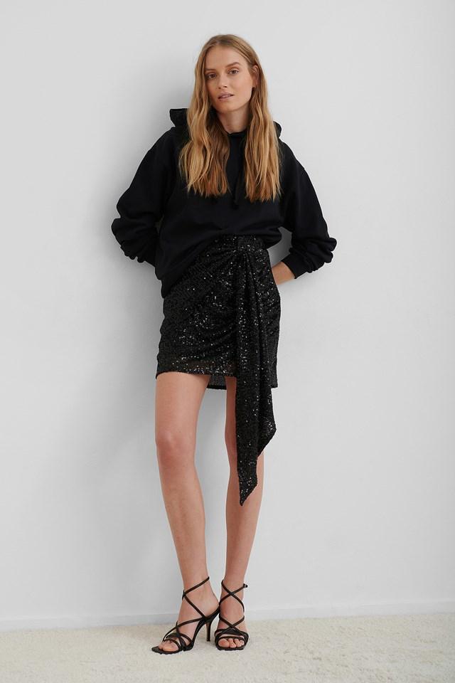 Black Drapy Glitter Skirt