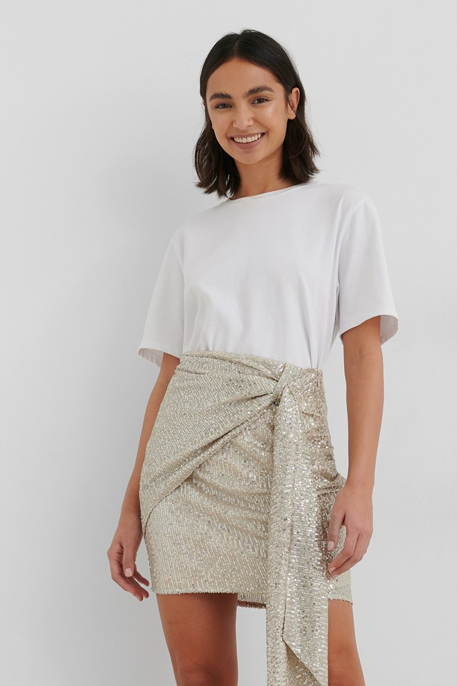 Silver Drapy Glitter Skirt