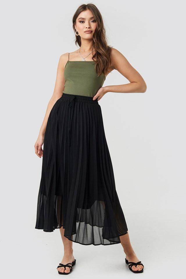 Drawcord Pleated Midi Skirt Black