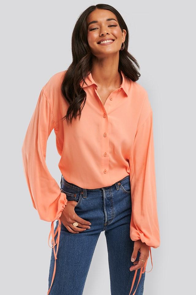 Peach Drawstring Balloon Sleeve Shirt