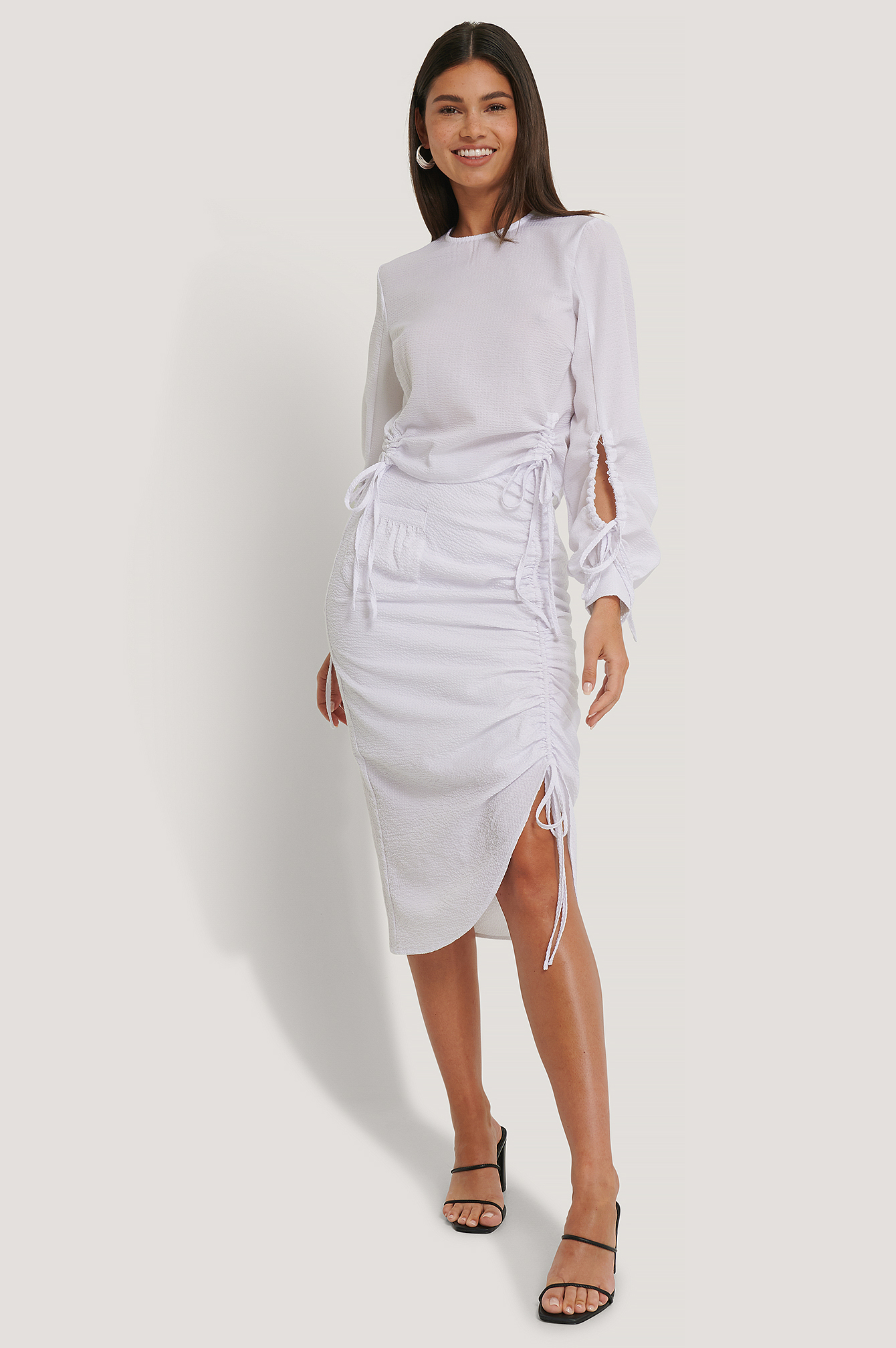 White Drawstring Detailed Skirt