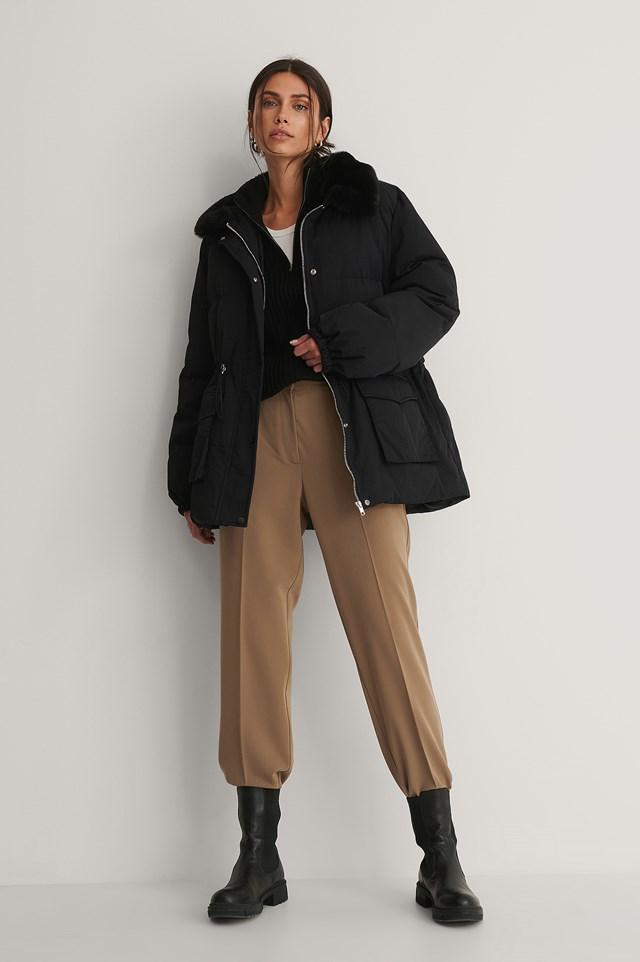 Drawstring Faux Fur Jacket Black