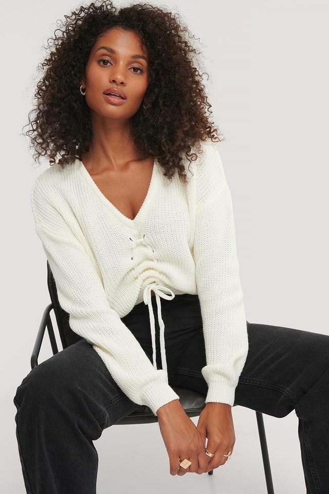 Sweter Z Dzianiny White