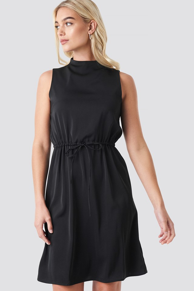 Black Drawstring Waist High Neck Dress