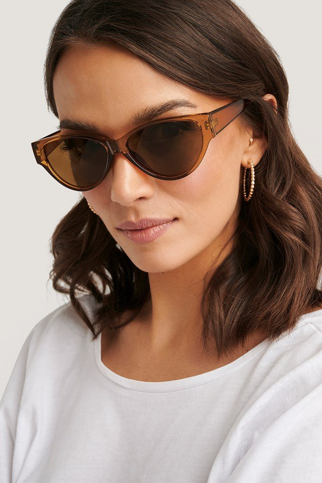 Drop Shaped Cateye Sunglasses Amber