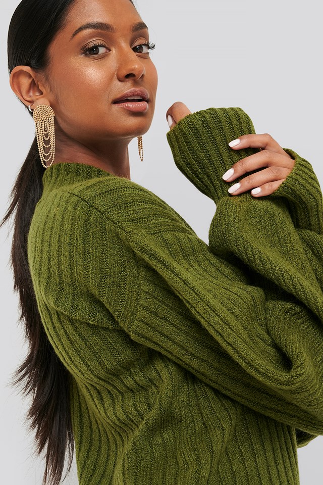 Olive Green Dropped Big Sleeve Sweater