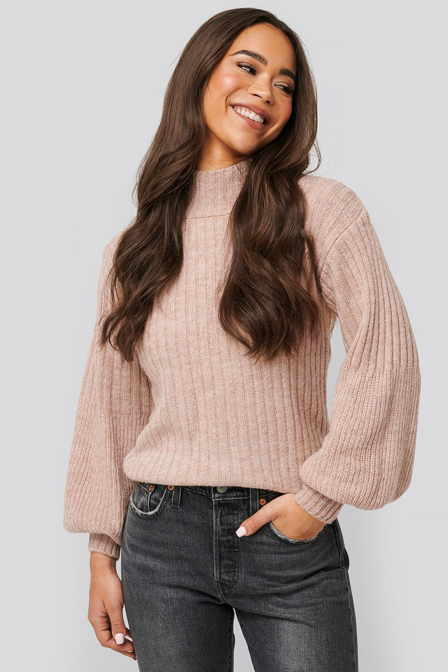 Dropped Big Sleeve Sweater Dusty Pink