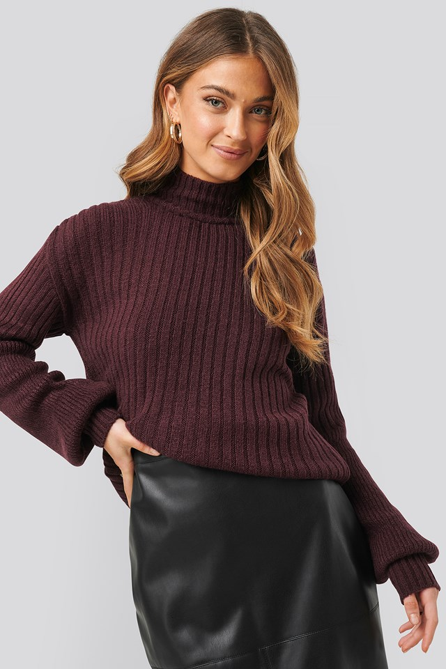 Bordeaux Dropped Big Sleeve Sweater