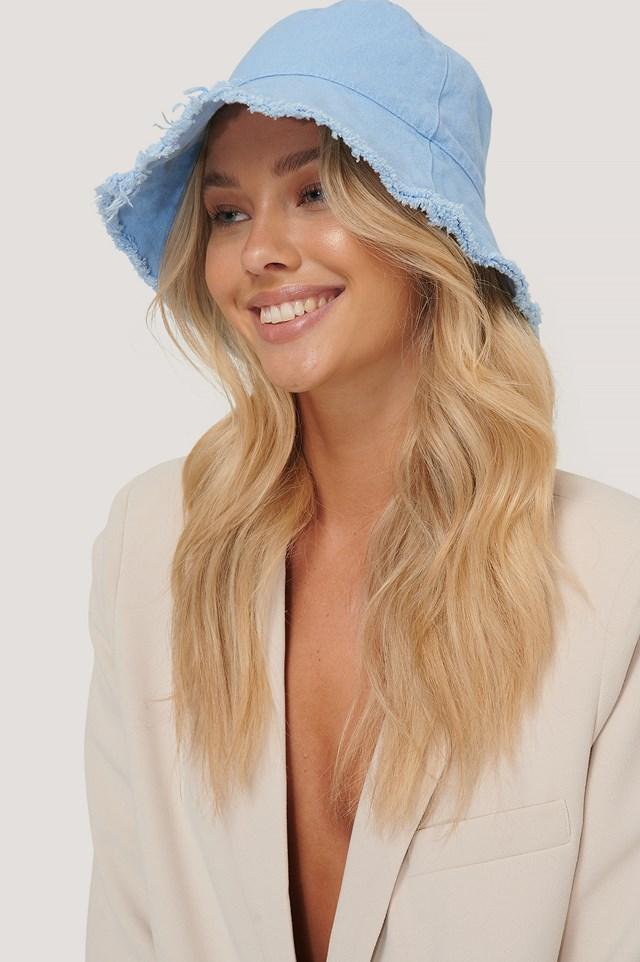Raw Edge Bucket Hat Baby Blue