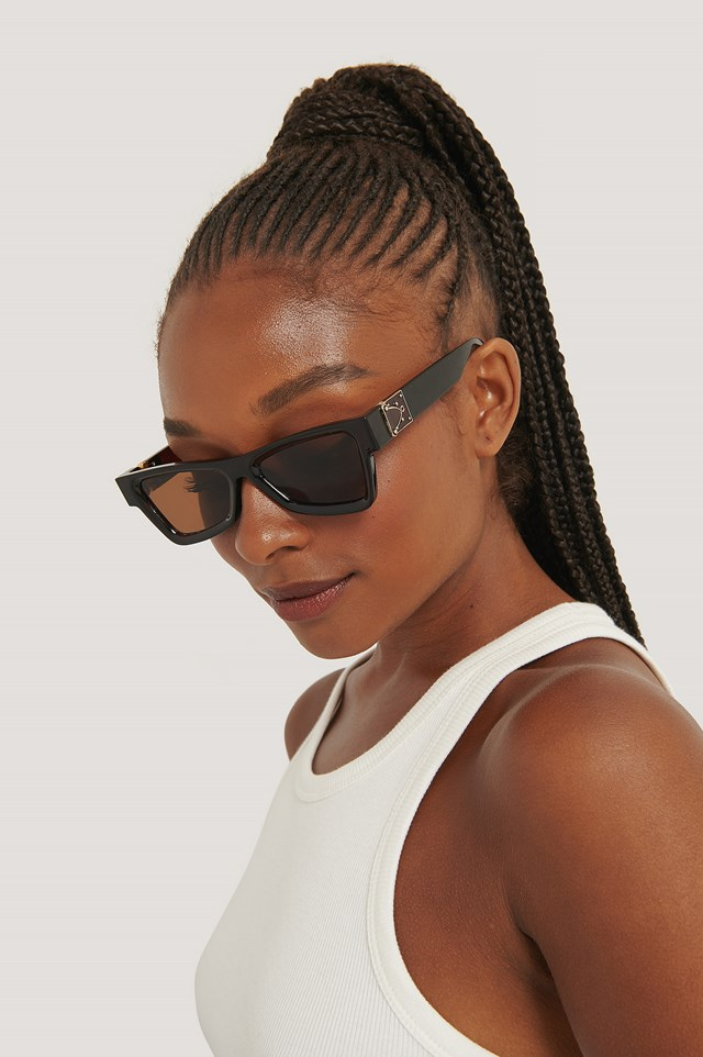 Brown/Gold Edgy Temple Detailed Sunglasses