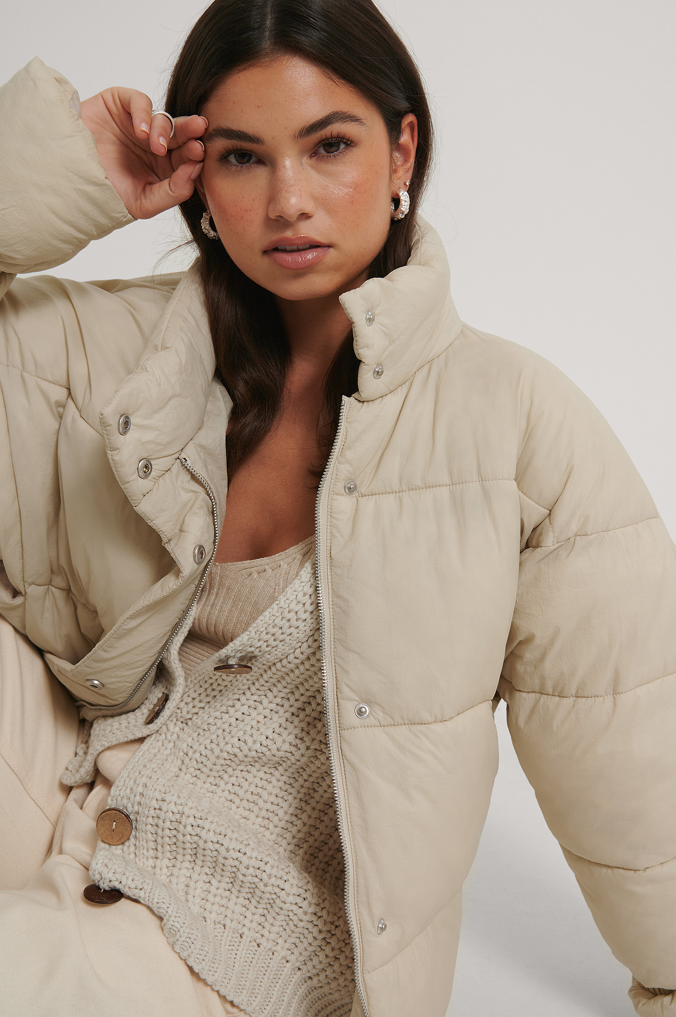 Beige Elastic Detail Padded Jacket