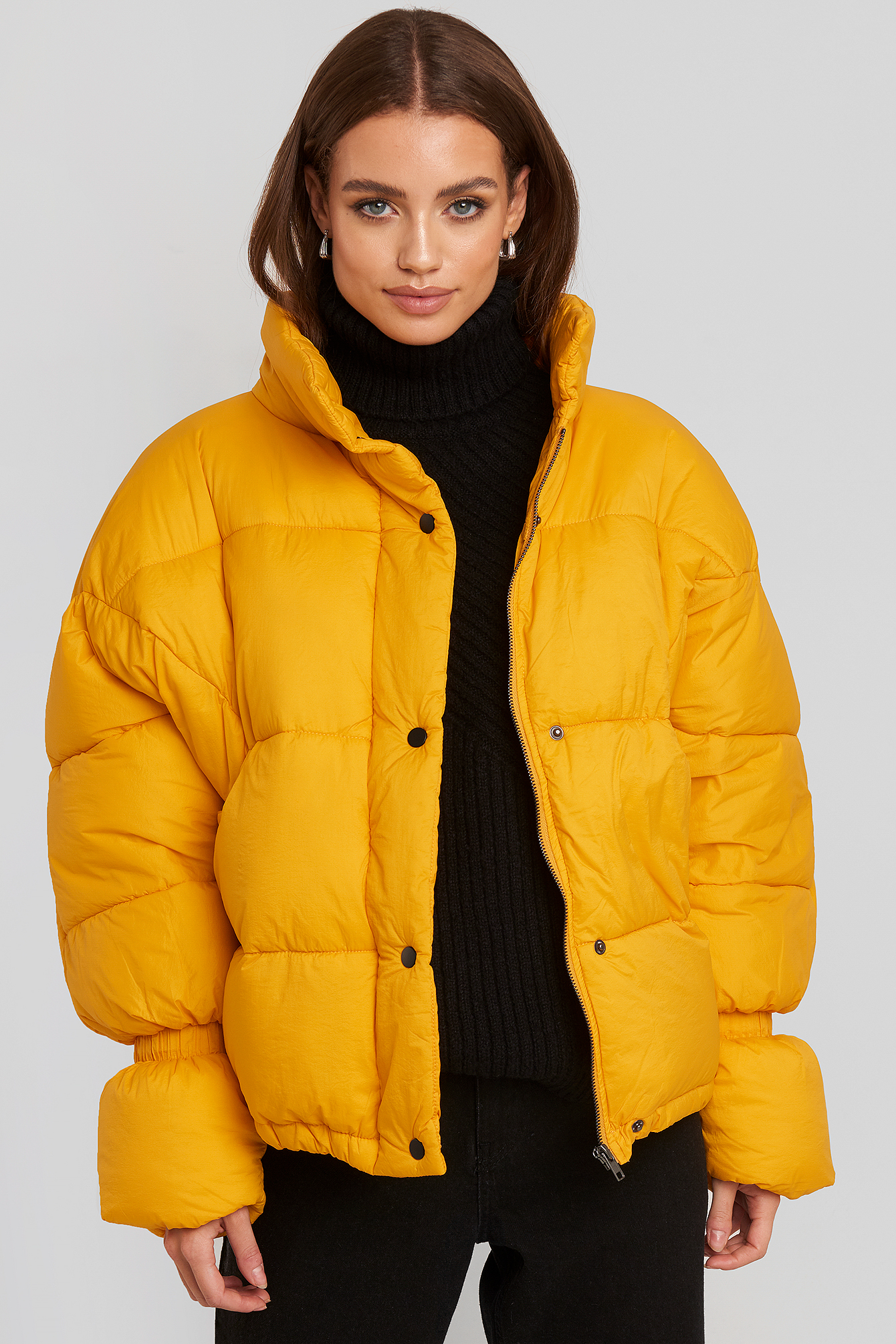 Yellow Elastic Detail Puffer Jacket