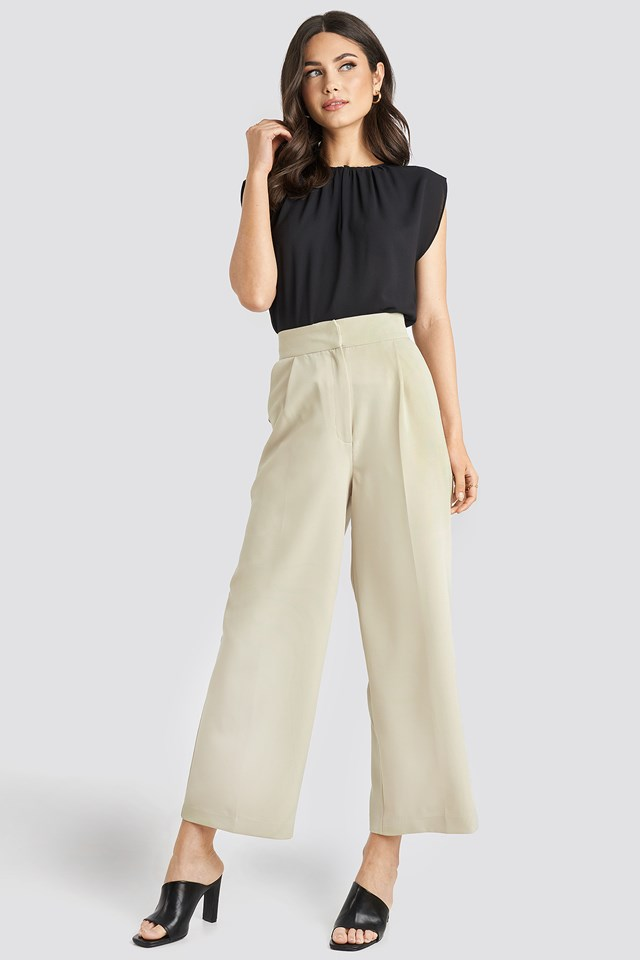 Elastic Detail Wide Pants Light Beige
