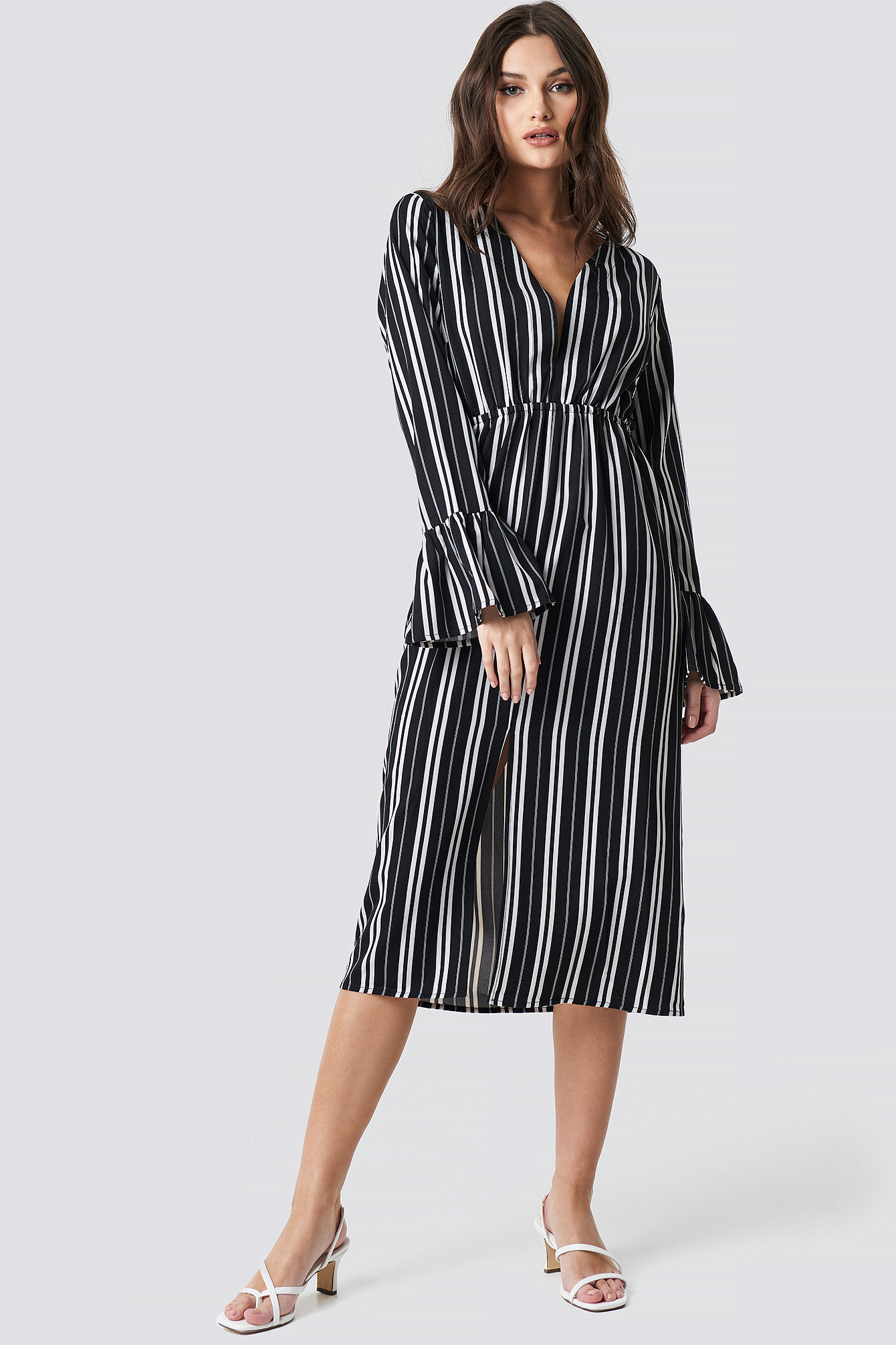 Black/White Stripe Elastic Waist Flute Sleeve Dress