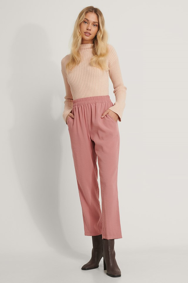 Dusty Dark Pink Elastic Waist Pants