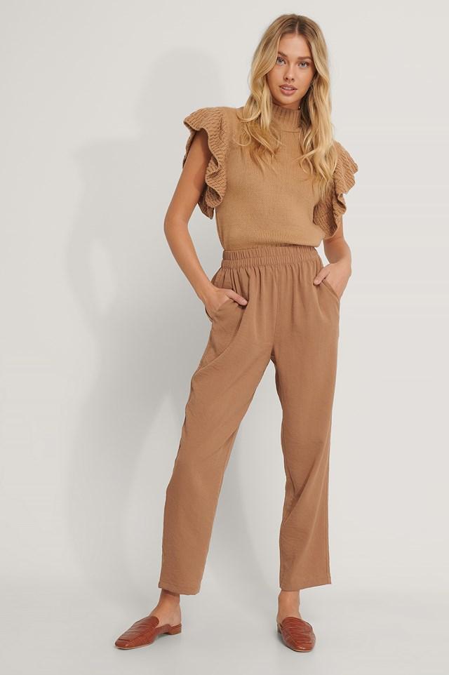 Terracotta Elastic Waist Pants