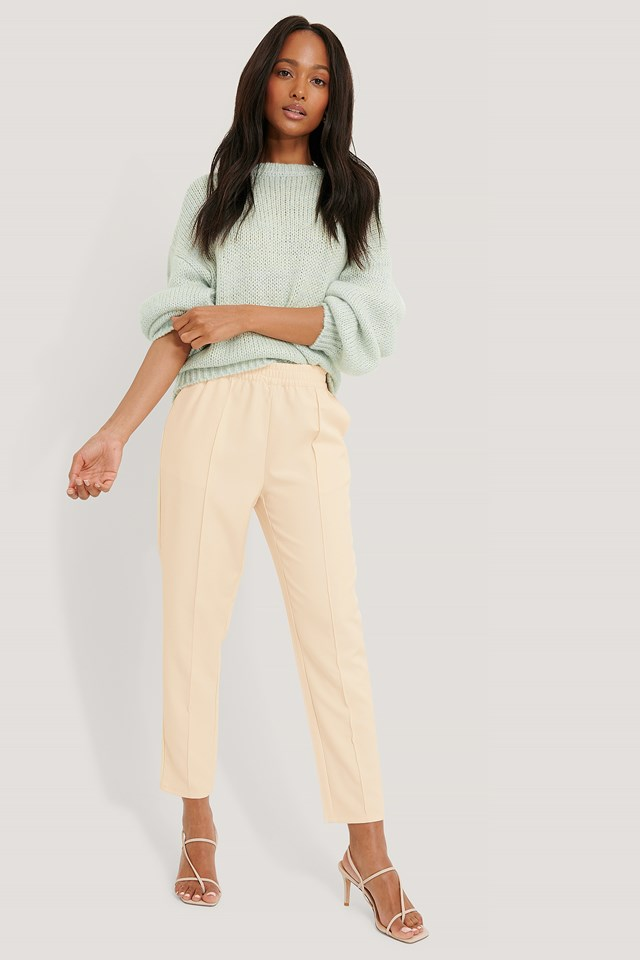 Off White Elastic Waist Seamline Pants