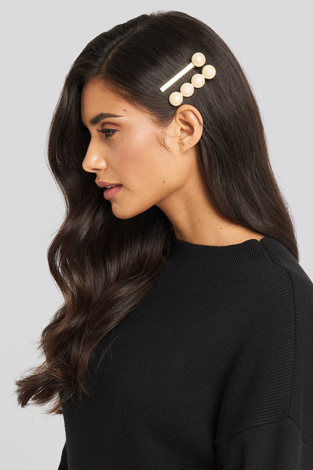 Embedded Pearl Hairpin Set Gold