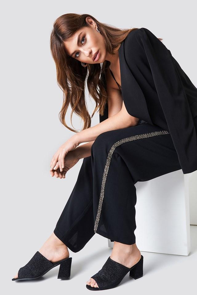 Embellished Side Stripe Pants Black