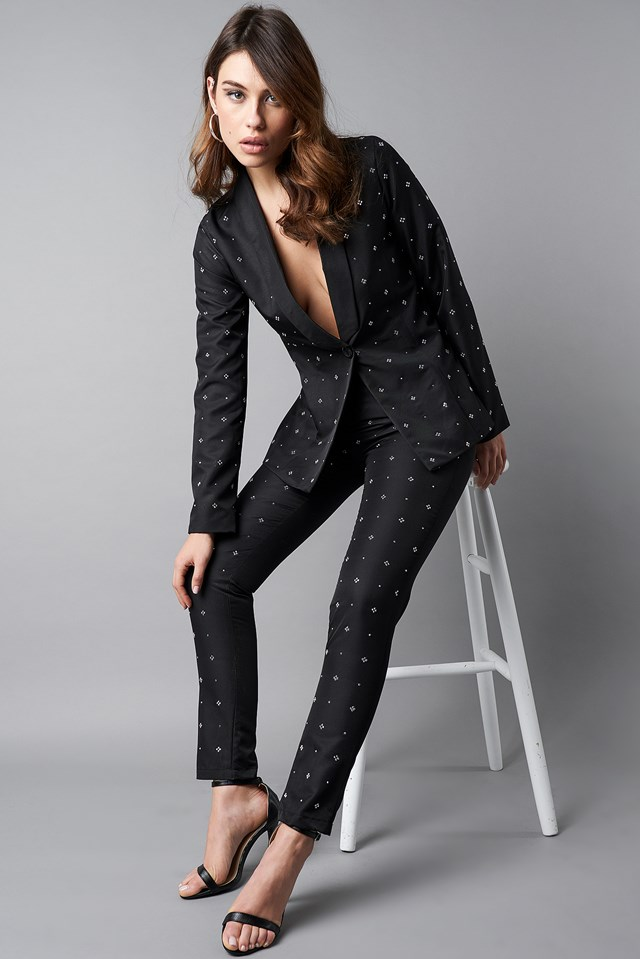 Embellished Suit Pants Black