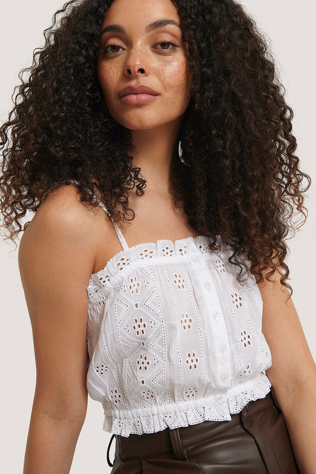 White Embroidery Button Top