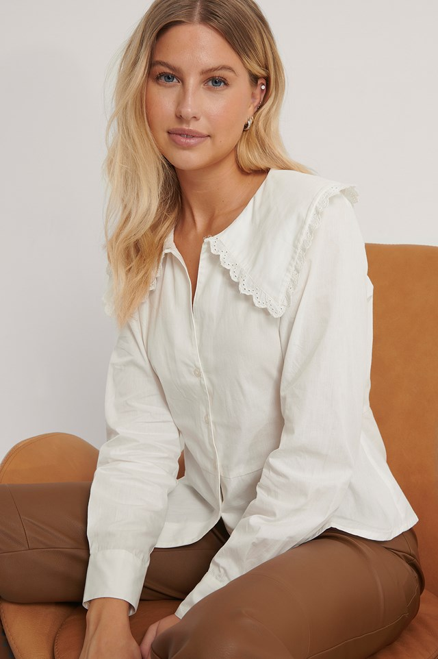 Embroidery Collar Shirt Off White