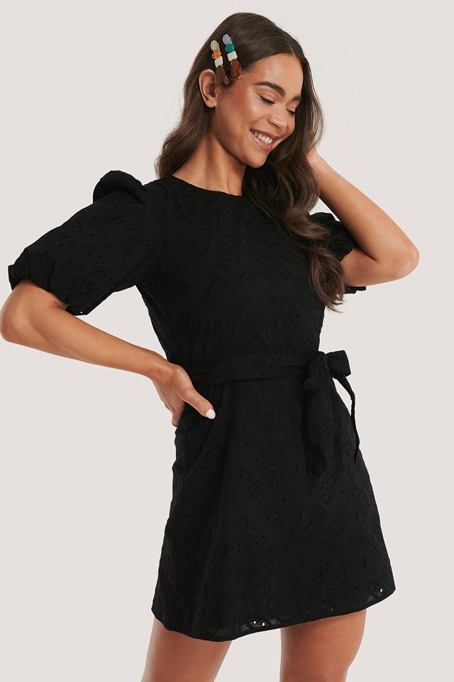 Black Embroidery Cotton Dress