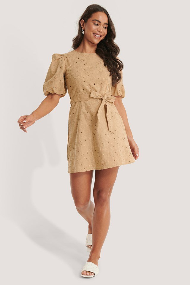 Beige Embroidery Cotton Dress