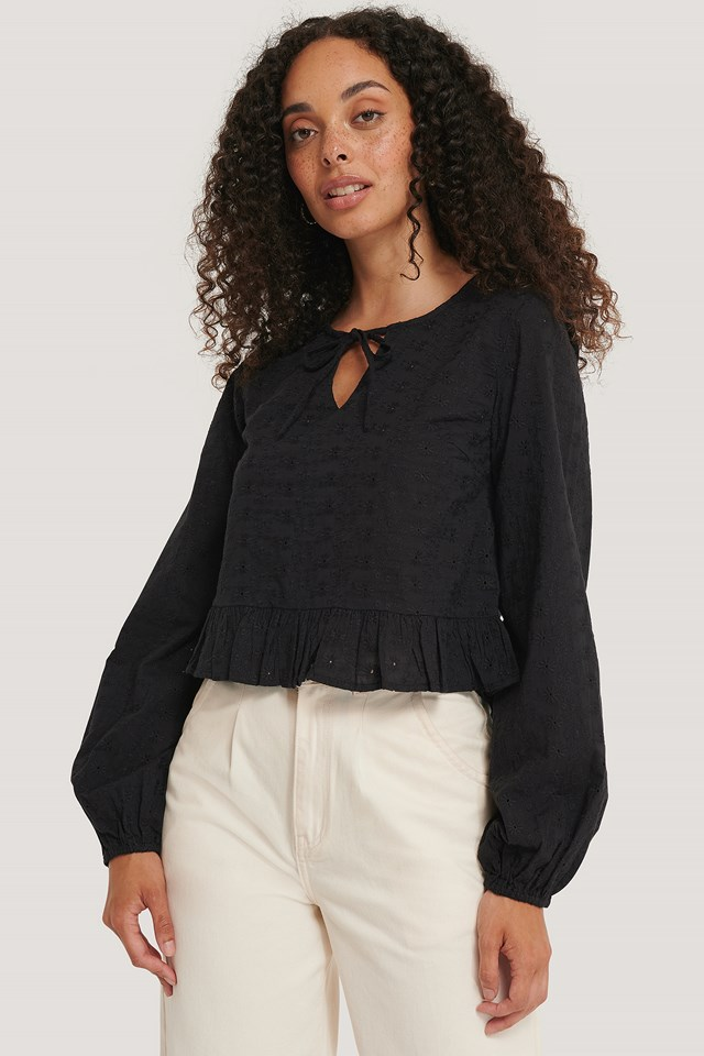 Embroidery Frill Blouse Black