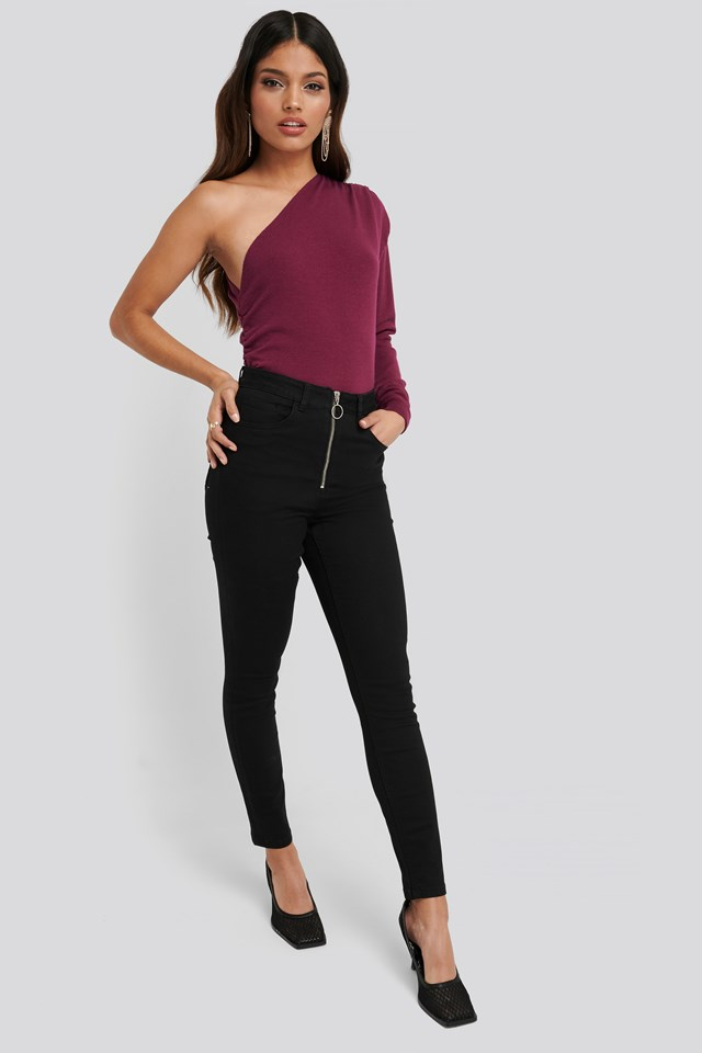 Exposed Zipper High Waist Skinny Jeans Black