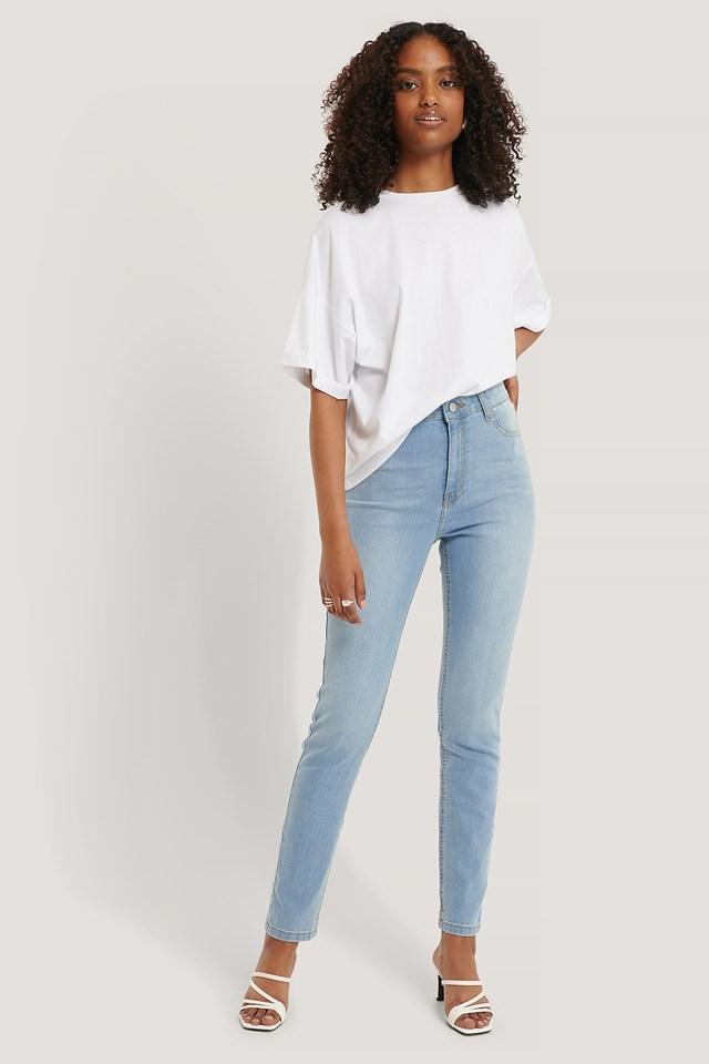 Light Blue Fake Pocket Skinny Jeans