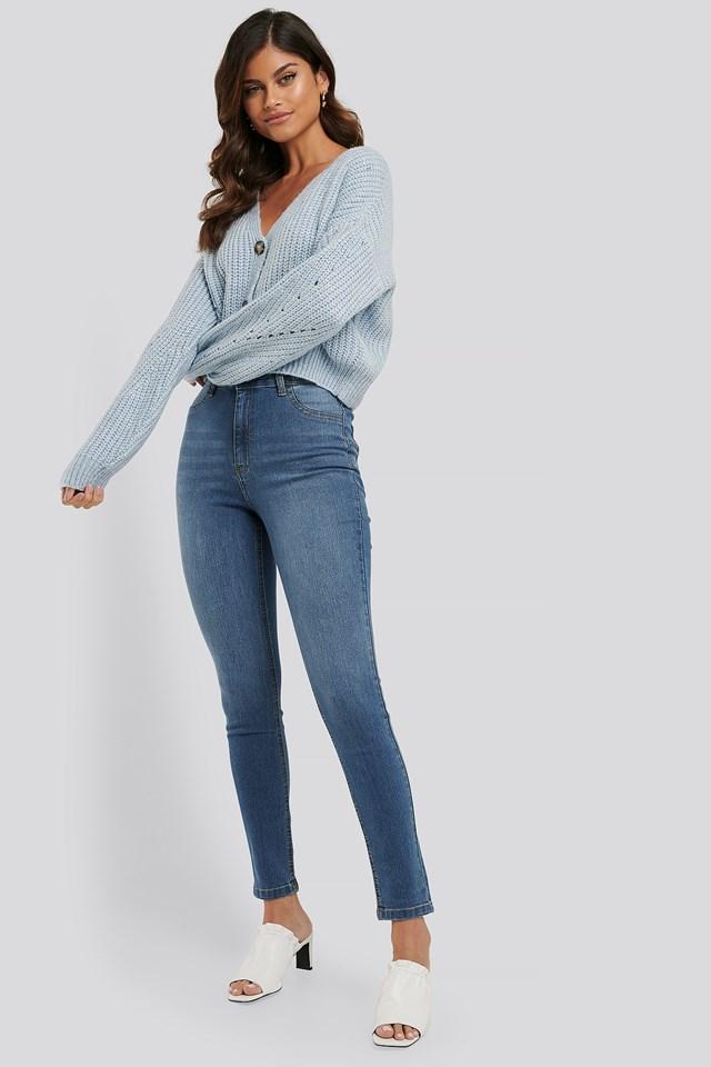 Fake Pocket Skinny Jeans Mid Blue
