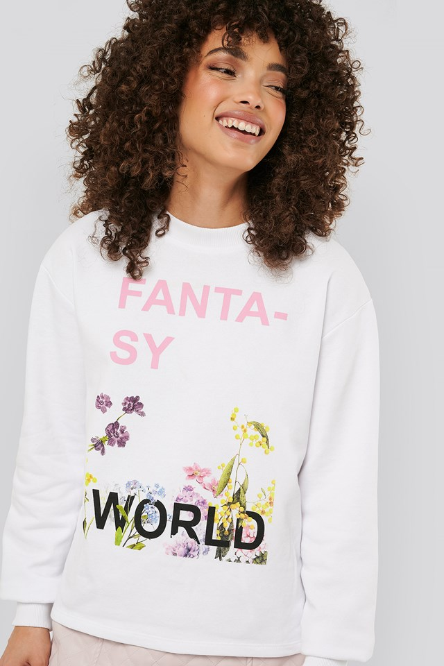 Fantasy Printed Sweater White