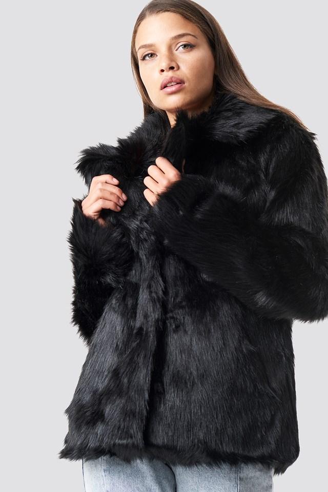 Faux Fur Collar Jacket Black