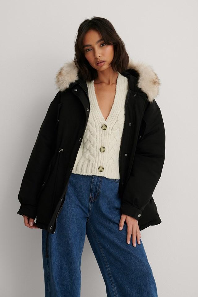 Faux Fur Detail Drawstring Jacket Black