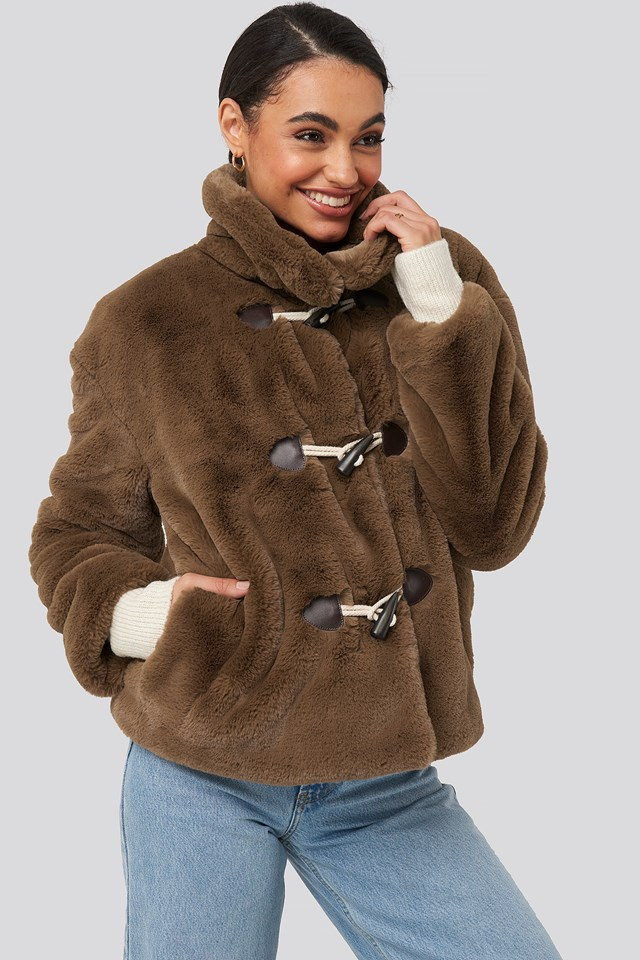 Faux Fur Duffle Jacket Brown