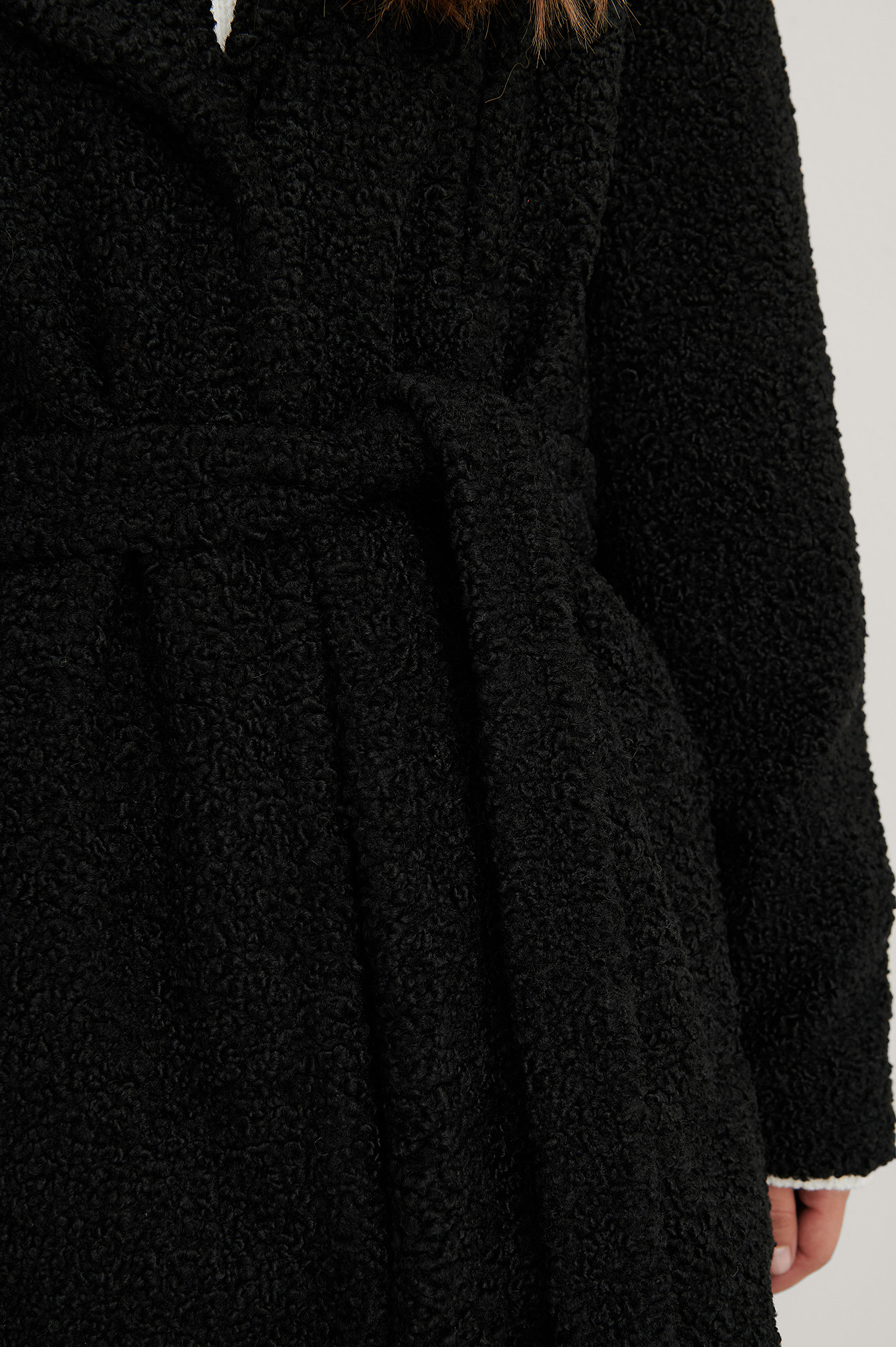 Black Belted Faux Fur Teddy Coat