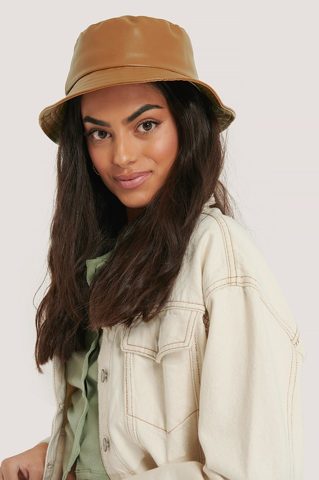 Faux Leather Bucket Hat Brown