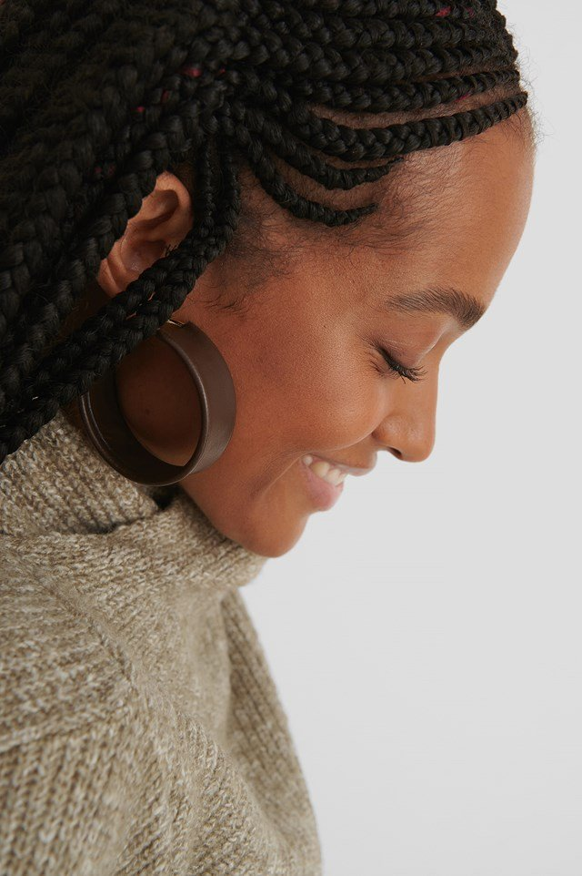 Brown Faux Leather Hoops