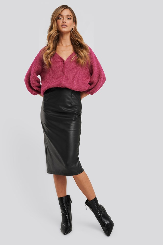 Faux Leather Midi Skirt Black