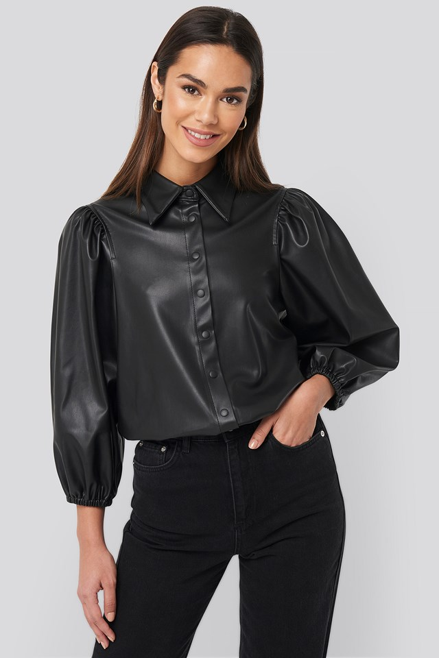 Faux Leather Puff Sleeve Shirt Black